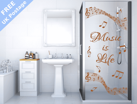 ... Music Is Life Shower Door Stickers ... & Music Is Life Shower Screen Stickers glass door notes score