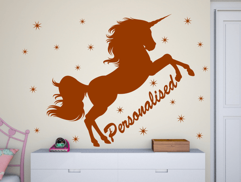Unicorn with girls name bedroom wall stickers