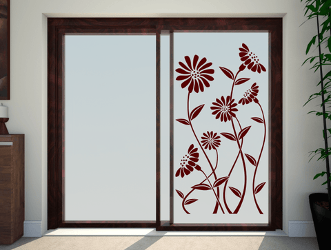 Daisies Glass Patio Door Stickers & Daisy Flowers Patio Doors Stickers glass safety transfers uk