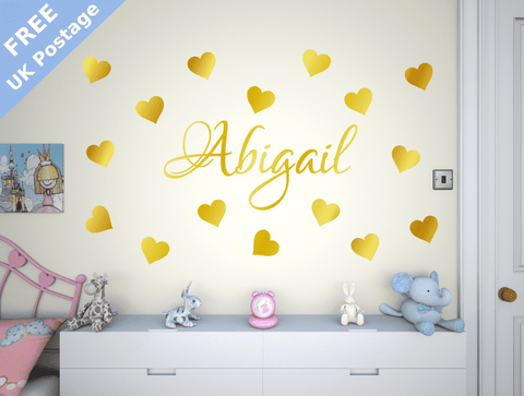 Custom Girls Name With love hearts wall stickers, personalised bedroom