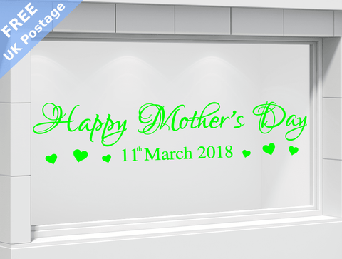 Fancy font happy mothers day shop window stickers