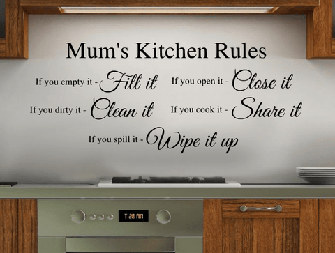 personalised kitchen rules wall art sticker mums name quote uk seller