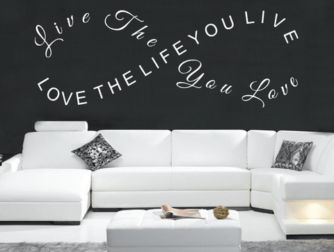 live the life you love wall stickers quote uk seller infinity shape