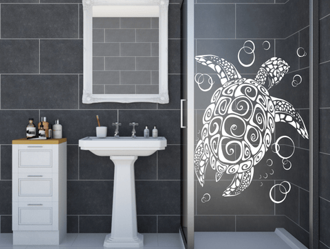 Awesome Tribal Turtle Shower Door Stickers