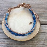 Sky - Blue Crackle Agate Bracelet - Courage, Protection, Love, and Longevity