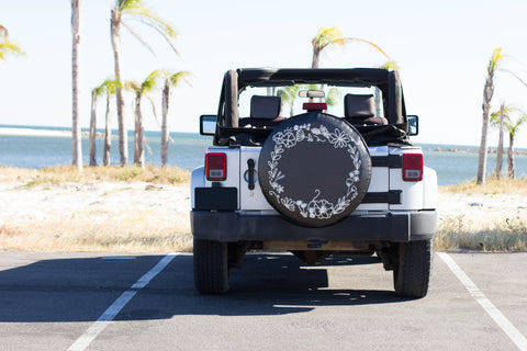 Floral Wreath Tire Cover