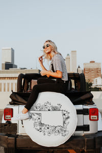 Floral Oklahoma State Design White Tire Cover