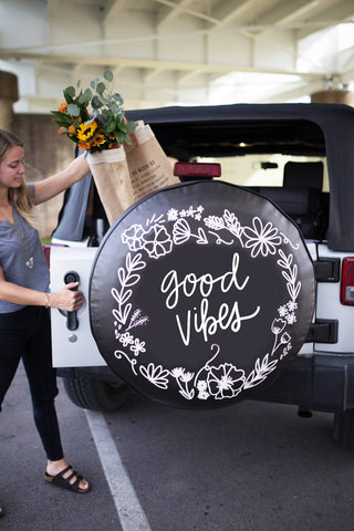 Good Vibes Floral Wreath Tire Cover