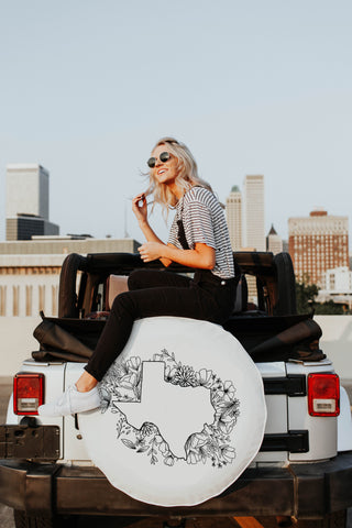 Floral Texas State Design White Tire Cover