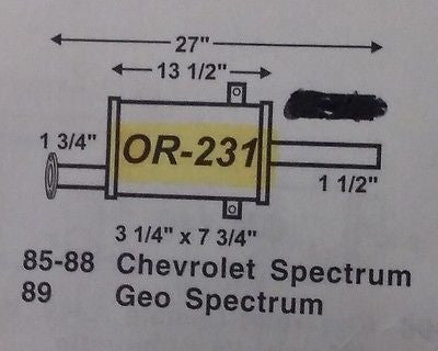 IMCO OR 231 85-88 Chevrolet Spectrum, 89 Geo Spectrum, and 85-89 Isuzu I-Mark