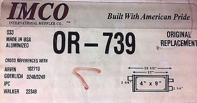 IMCO OR 739 Muffler 1986-1993 Ford Mustang and 1984-1986 Mercury Capri, Mufflers, IMCO - Midwest Autopro Parts