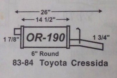 IMCO OR 190 1983-1984 Toyota Cressida, Mufflers, IMCO - Midwest Autopro Parts