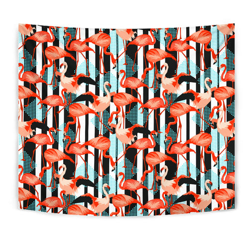 Flamingo Pattern Black Strip Tapestry
