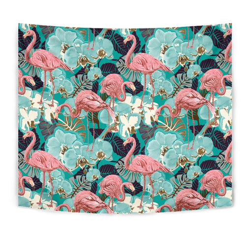 Flamingo Pattern Floral Teal Tapestry