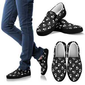 White on Black Paw Print Slip Ons
