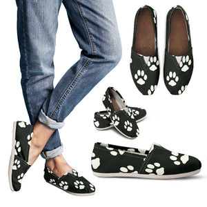 White on Black Paw Print Ladies Casual Shoe