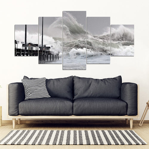Outer Banks High Surf Warning 5 Panel Wall Art