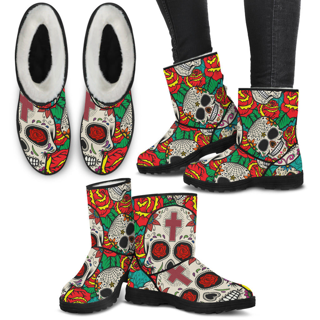 Rose Cross Sugar Skulls Ladies Faux Fur Boots