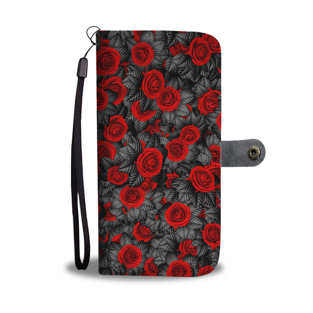 Roses/Gothic/Black/Wallet Phone Case