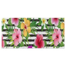 Load image into Gallery viewer, Tropical Flower/Cabana Style/Beach Towel-Black White Stripe