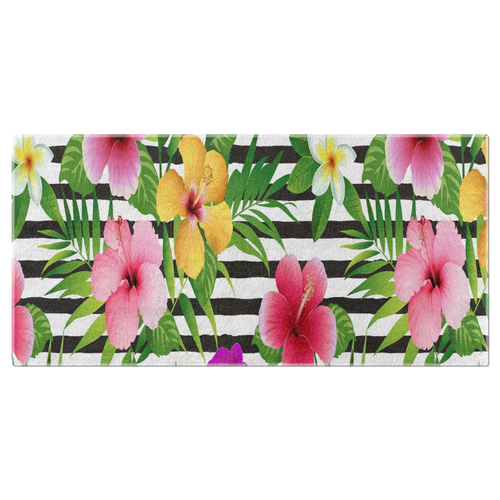 Tropical Flower/Cabana Style/Beach Towel-Black White Stripe
