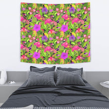 Load image into Gallery viewer, Flamingo Pattern Green Flroal Tapestry