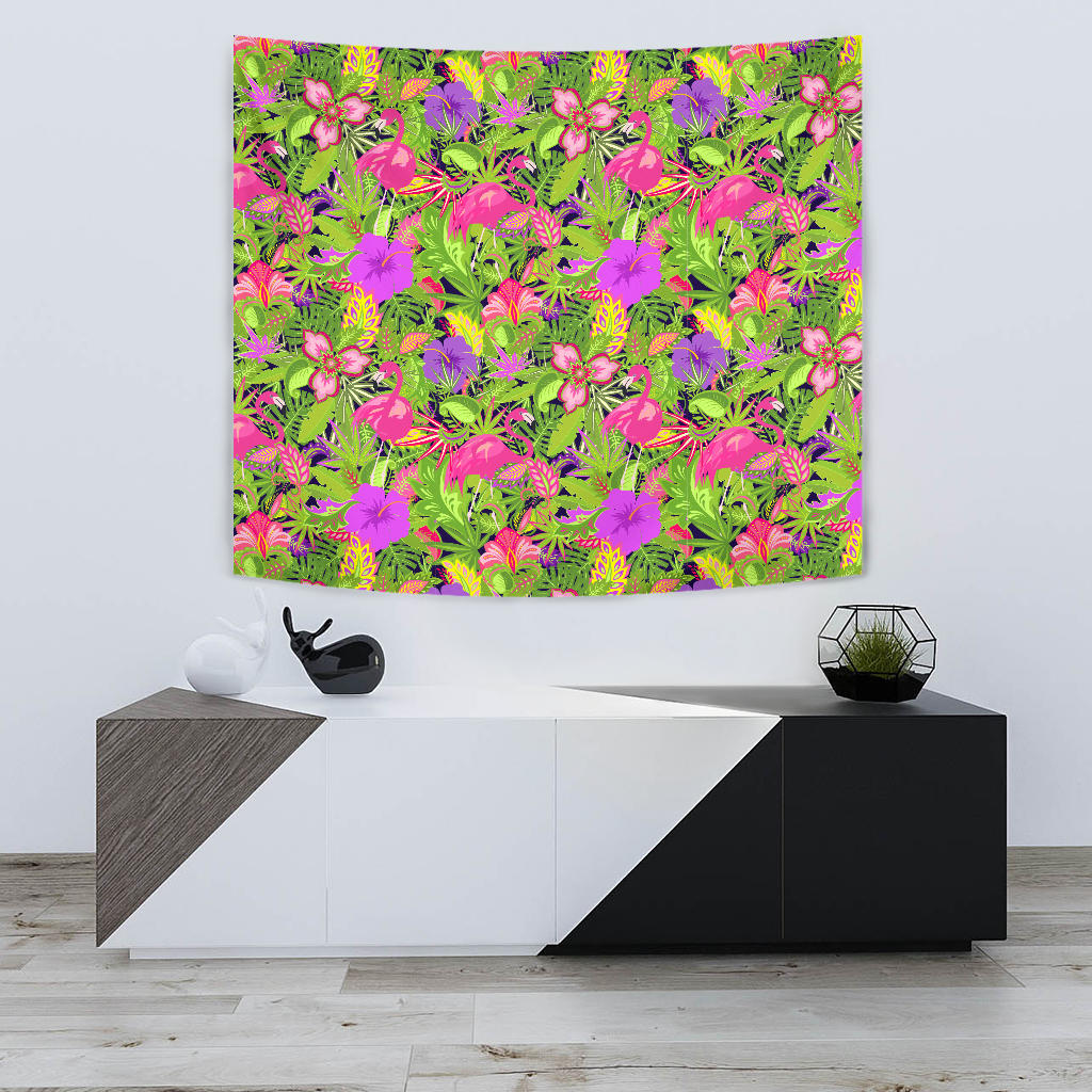 Flamingo Pattern Green Flroal Tapestry