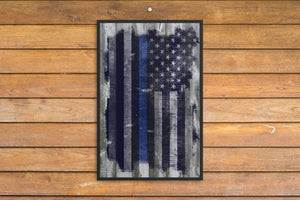 Police/Law Enforcement/Blue Line/American Flag/Wood Grunge/Print/Poster