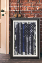 Load image into Gallery viewer, Police/Law Enforcement/Blue Line/American Flag/Wood Grunge/Print/Poster