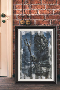 King Neptune/Virginia Beach/Travel Poster/Wood Grunge/Print/Poster