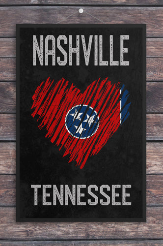 Nashville/Heart/Tennessee/Nashville Travel Poster