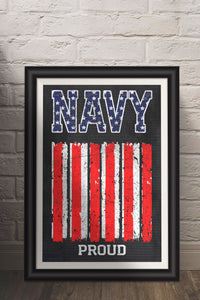 Navy/Proud/Print/US Navy/Military/USA/Navy/Military Pride/Poster