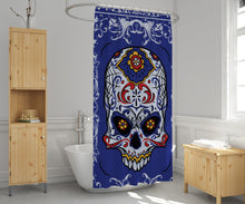 Load image into Gallery viewer, Sugar Skull Shower Curtain Blue