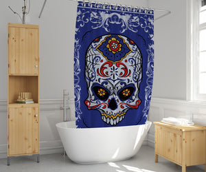 Sugar Skull Shower Curtain Blue
