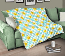 Load image into Gallery viewer, Sunshine/Blue Stripes/Quilt/Bedspread