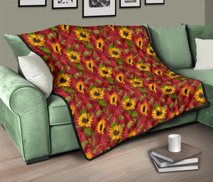 Sunflower/Sunflowers/Red Stripes/All Over/Quilt