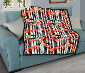 Flamingos/Black Stripe/Deco/Quilt/Bedspread