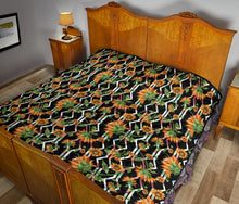 Load image into Gallery viewer, Sunflowers/Black Tribal Pattern/Quilt/Bedspread
