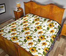 Load image into Gallery viewer, Sunflower/Sunflowers/White/All Over/Quilt