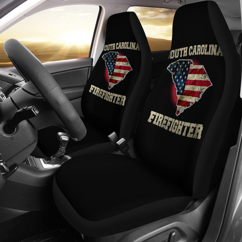 South Carolina/Firefighter/Seat Covers/American Flag/Car/Truck/SUV/Auto (2 seat covers per set)