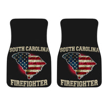 Load image into Gallery viewer, South Carolina/Firefighter/American Flag/Car/Truck/SUV/Auto/RV/Floor Mats (2-front floor mats per order)