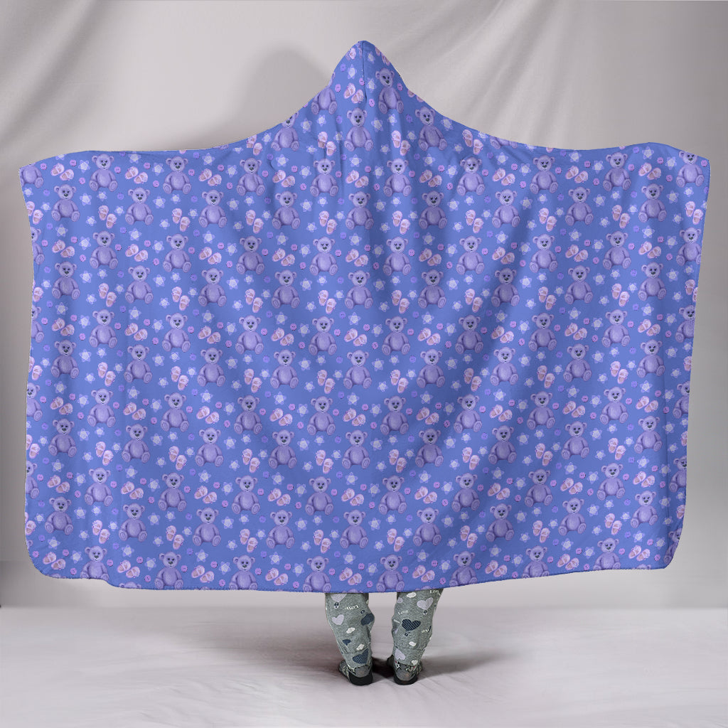 Teddy Bears Hearts Purple Hoodie Blanket