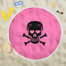 Load image into Gallery viewer, Skull and Crossbones Pink/Round/Beach Blanket/Table Cloth/Shawl