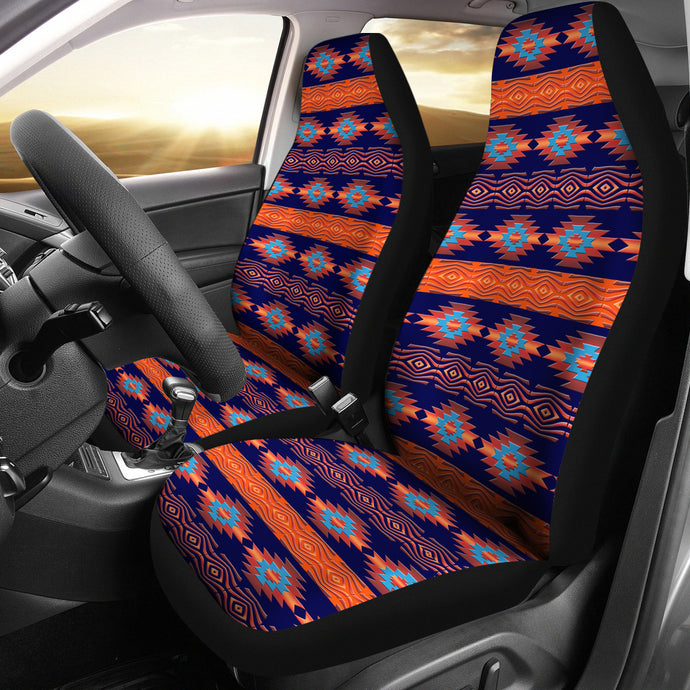 Southwest/Navajo/Native American/Blue/Orange/Micro Fiber/Auto/Car/Seat (2 seat covers per set)