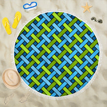 Load image into Gallery viewer, Geometric Weave/Blue/Green/Round/Beach Blanket/Tablecloth/Blankets/Beach/Pool/Throw/Picnic/Towel/Gift