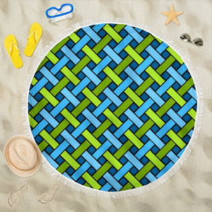 Geometric Weave/Blue/Green/Round/Beach Blanket/Tablecloth/Blankets/Beach/Pool/Throw/Picnic/Towel/Gift