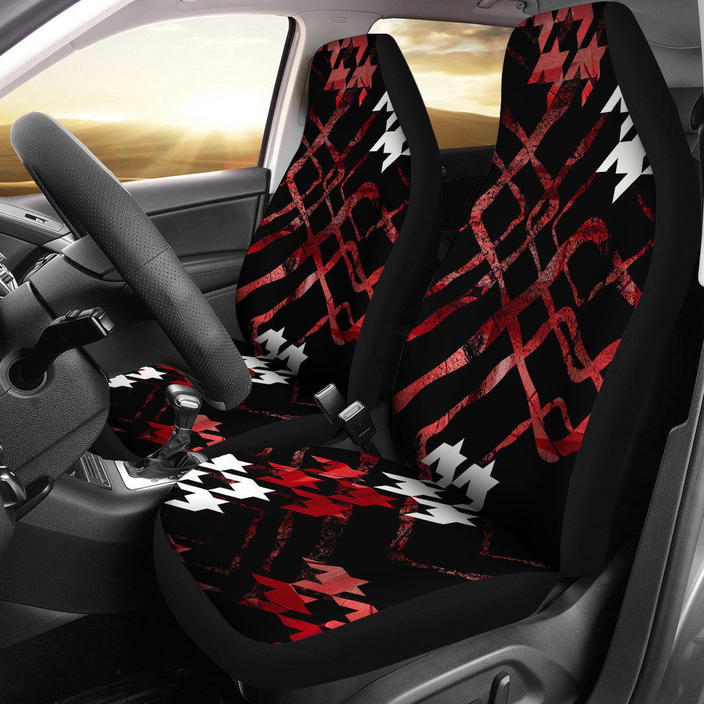 Textile Geo Pattern/Red/Black/Micro  Fiber Seat Covers/Auto Seat Covers/SUV Seat Covers/Truck Seat Covers (Set of 2)
