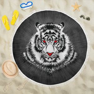 Tiger Face/Red Eyes/Round/Beach Blanket/Table Cloth/Shawl