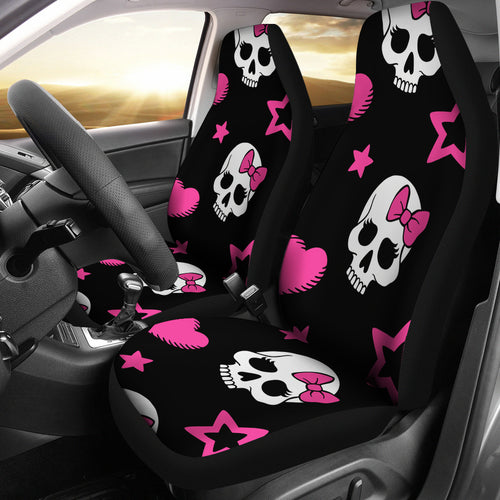 Sugar Skulls Pink Hearts Car Seat Covers