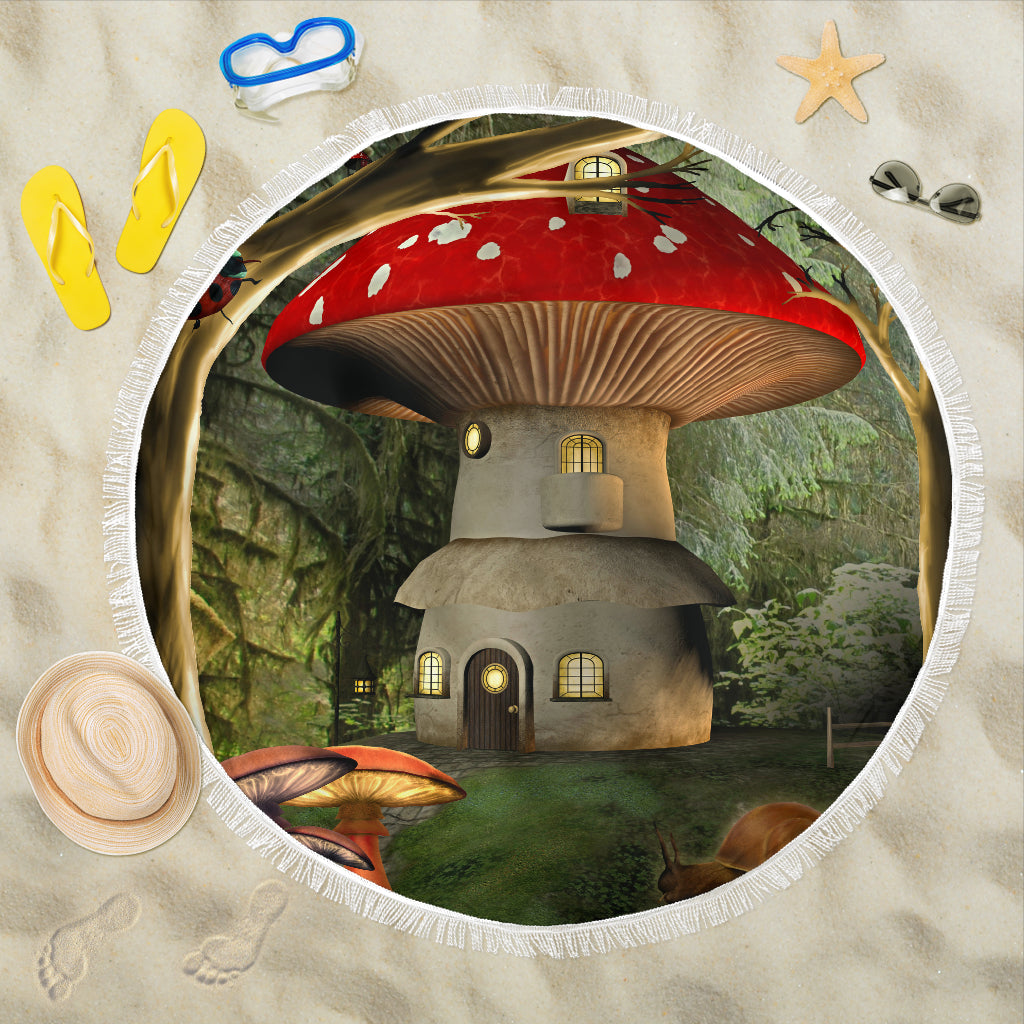 Mushroom House 1/Round/Beach Blanket/Table Cloth/Shawl